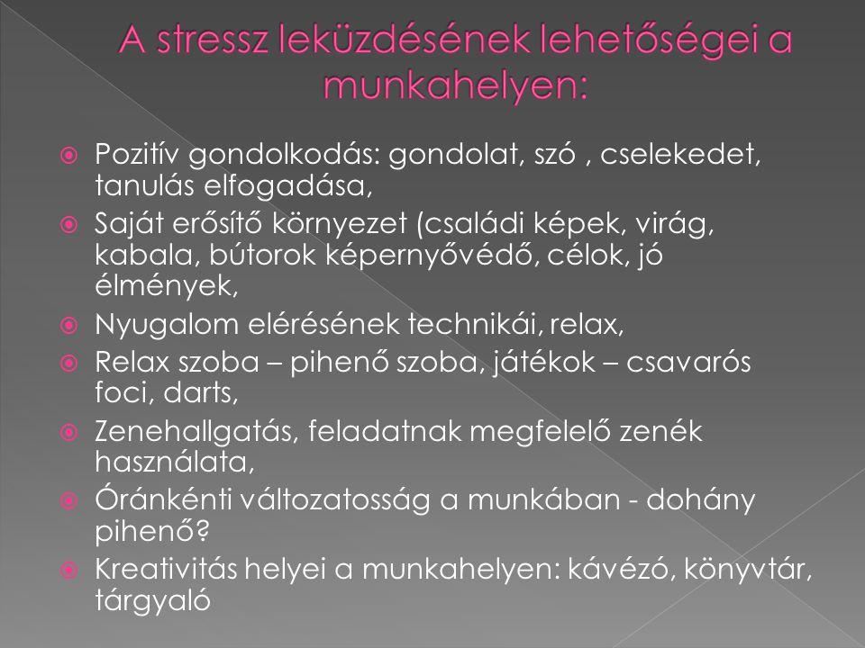 A stressz leküzdésének lehetőségei a munkahelyen: