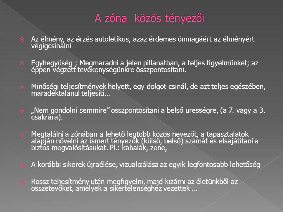 A zóna közös tényezői Az élmény, az érzés autoletikus, azaz érdemes önmagáért az élményért végigcsinálni …