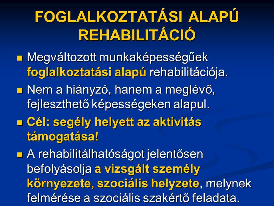 FOGLALKOZTATÁSI ALAPÚ REHABILITÁCIÓ