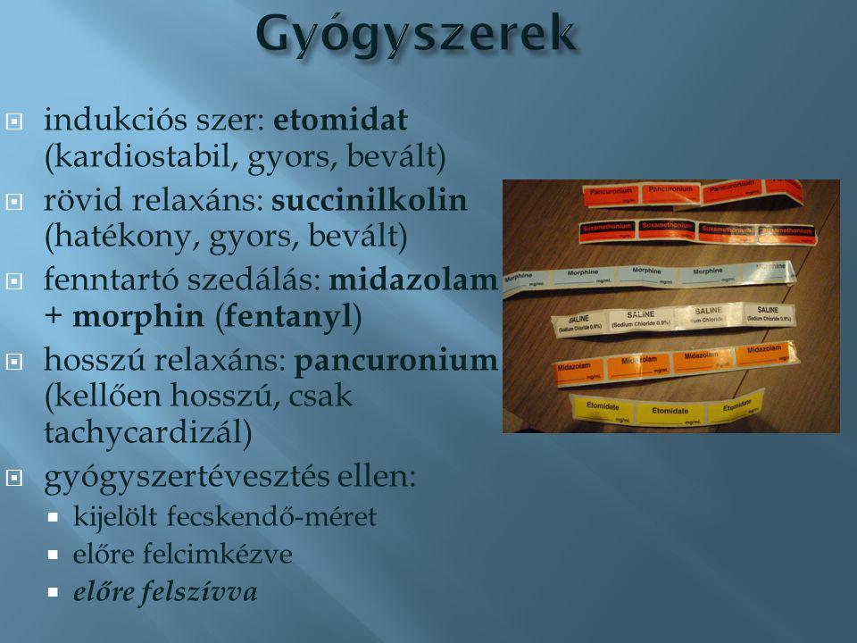 Gyógyszerek indukciós szer: etomidat (kardiostabil, gyors, bevált)