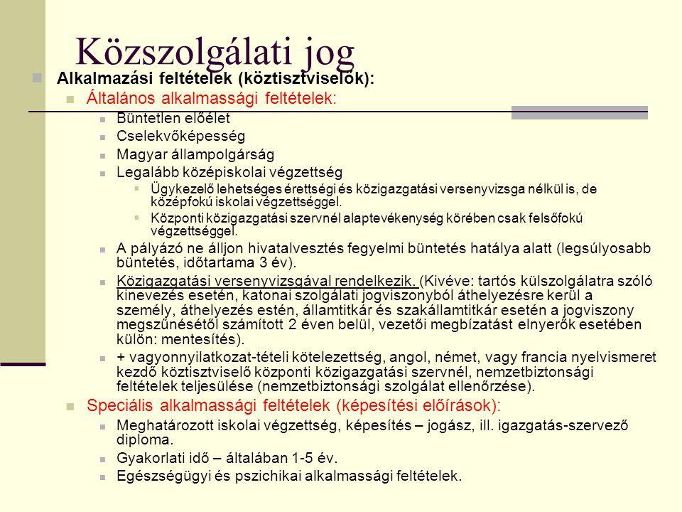 Közszolgálati jog Alkalmazási feltételek (köztisztviselők):