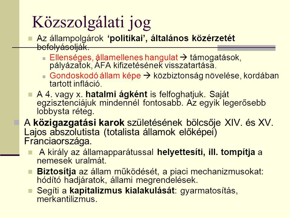 Közszolgálati jog Az állampolgárok 'politikai', általános közérzetét befolyásolják.