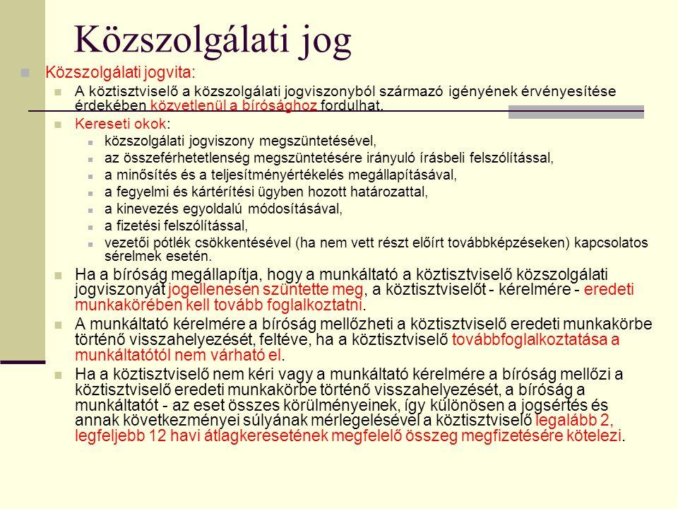 Közszolgálati jog Közszolgálati jogvita:
