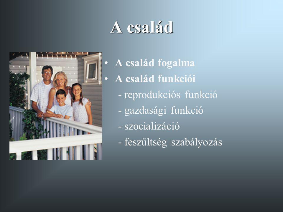 A család A család fogalma A család funkciói - reprodukciós funkció