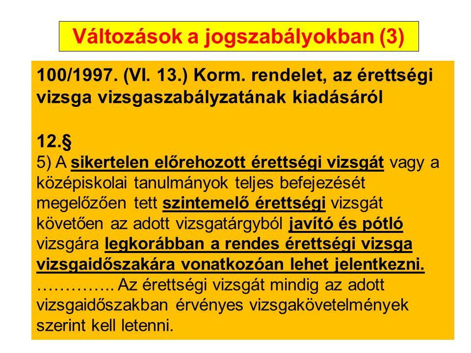 Változások a jogszabályokban (3)