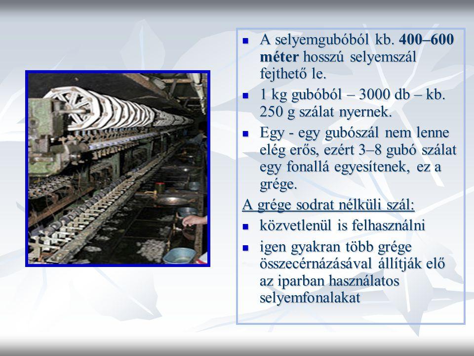 A selyemgubóból kb. 400–600 méter hosszú selyemszál fejthető le.