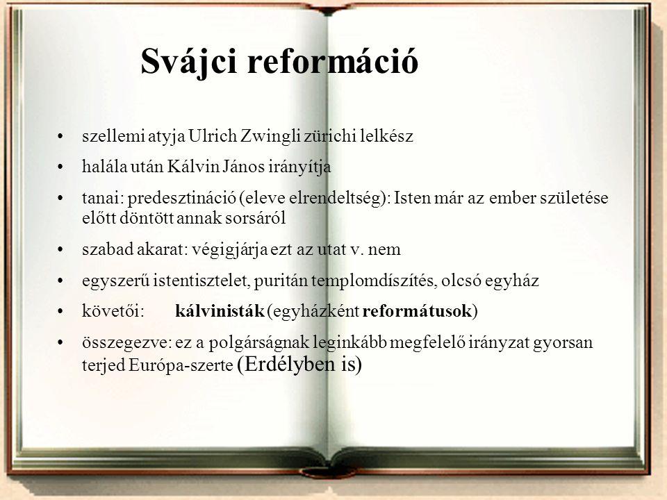Svájci reformáció szellemi atyja Ulrich Zwingli zürichi lelkész