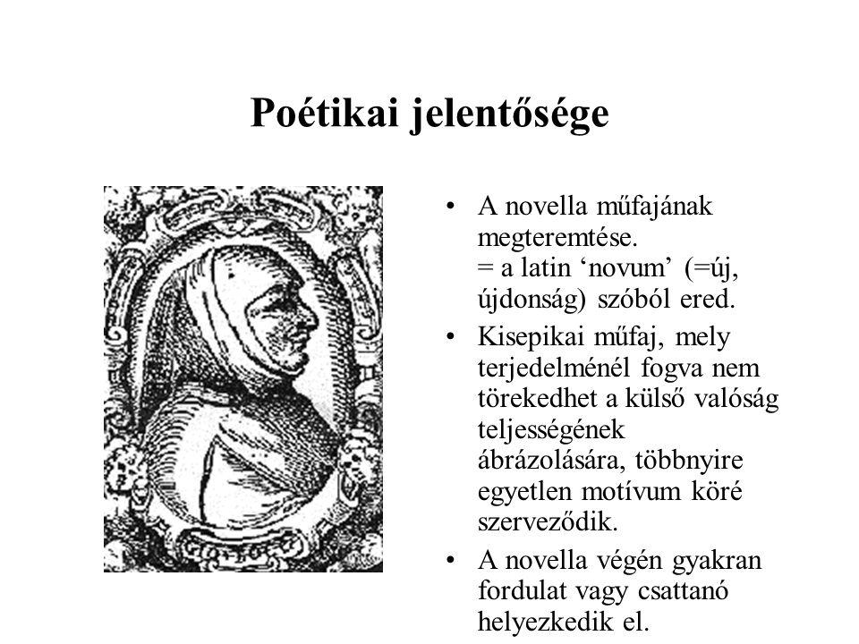 Poétikai jelentősége A novella műfajának megteremtése. = a latin 'novum' (=új, újdonság) szóból ered.