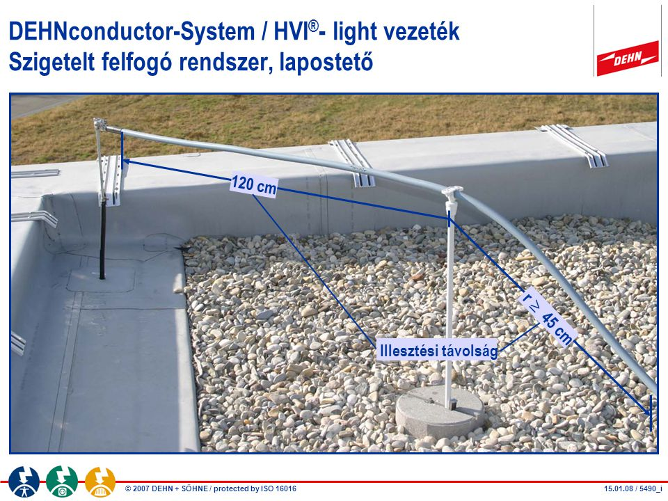 DEHNconductor-System / HVI®- light vezeték Szigetelt felfogó rendszer, lapostető