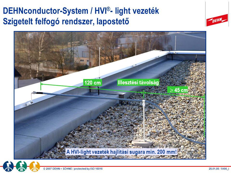 A HVI-light vezeték hajlítási sugara min. 200 mm!