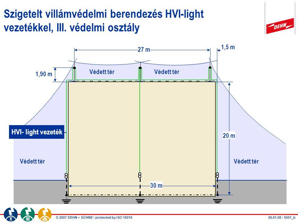 Szigetelt villámvédelmi berendezés HVI-light vezetékkel, III