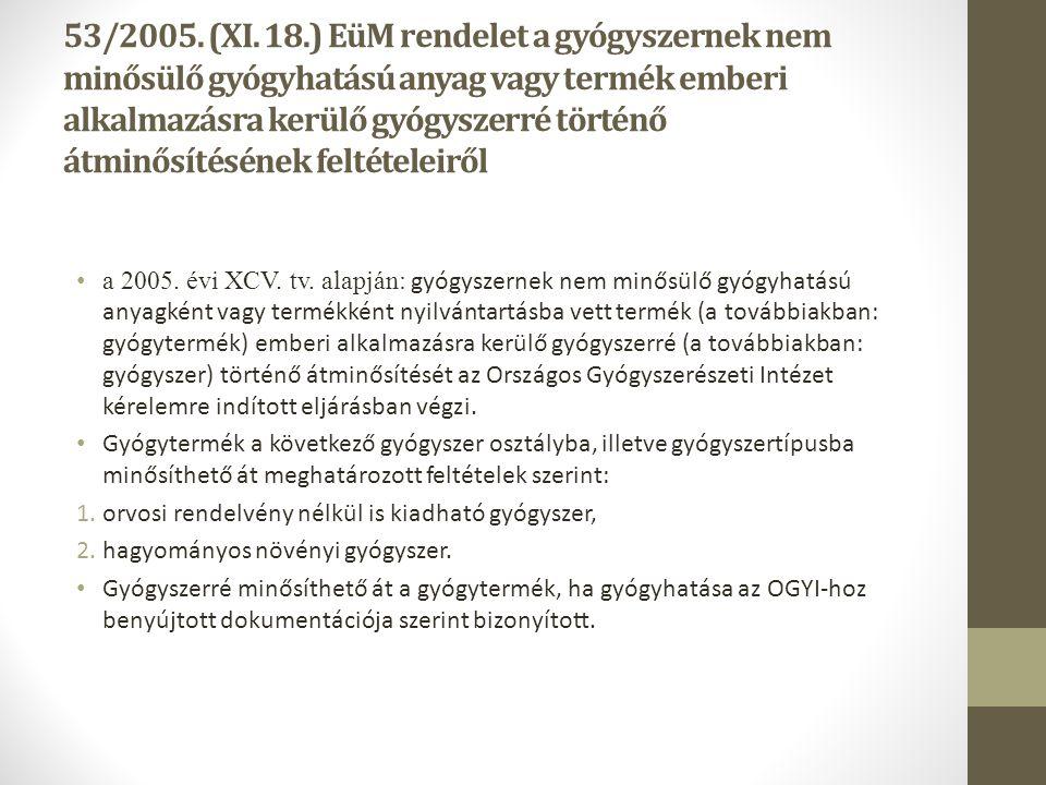 53/2005. (XI. 18.) EüM rendelet a gyógyszernek nem minősülő gyógyhatású anyag vagy termék emberi alkalmazásra kerülő gyógyszerré történő átminősítésének feltételeiről