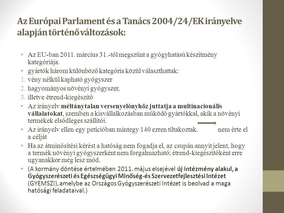 Az Európai Parlament és a Tanács 2004/24/EK irányelve alapján történő változások: