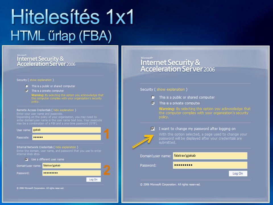 Hitelesítés 1x1 HTML űrlap (FBA)