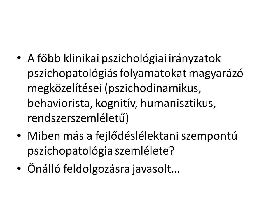 A főbb klinikai pszichológiai irányzatok pszichopatológiás folyamatokat magyarázó megközelítései (pszichodinamikus, behaviorista, kognitív, humanisztikus, rendszerszemléletű)