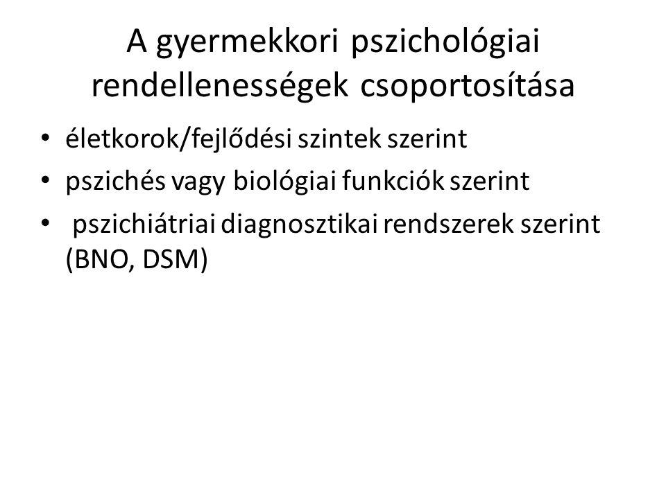 A gyermekkori pszichológiai rendellenességek csoportosítása
