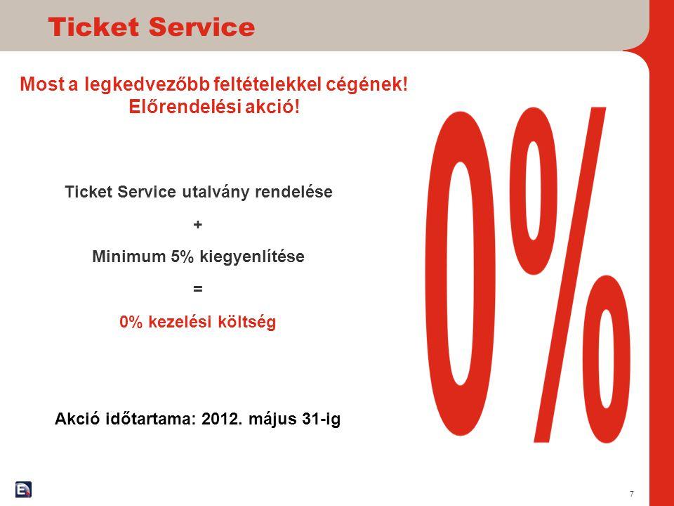 Ticket Service Most a legkedvezőbb feltételekkel cégének! Előrendelési akció! Ticket Service utalvány rendelése.