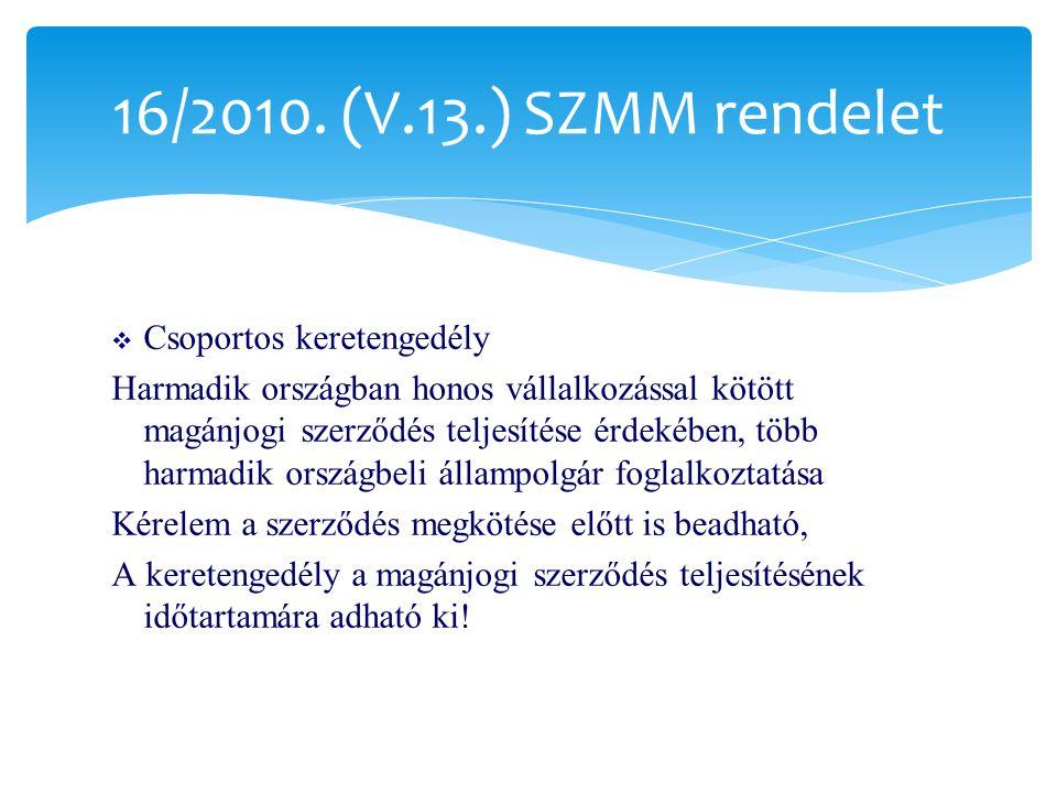 16/2010. (V.13.) SZMM rendelet Csoportos keretengedély