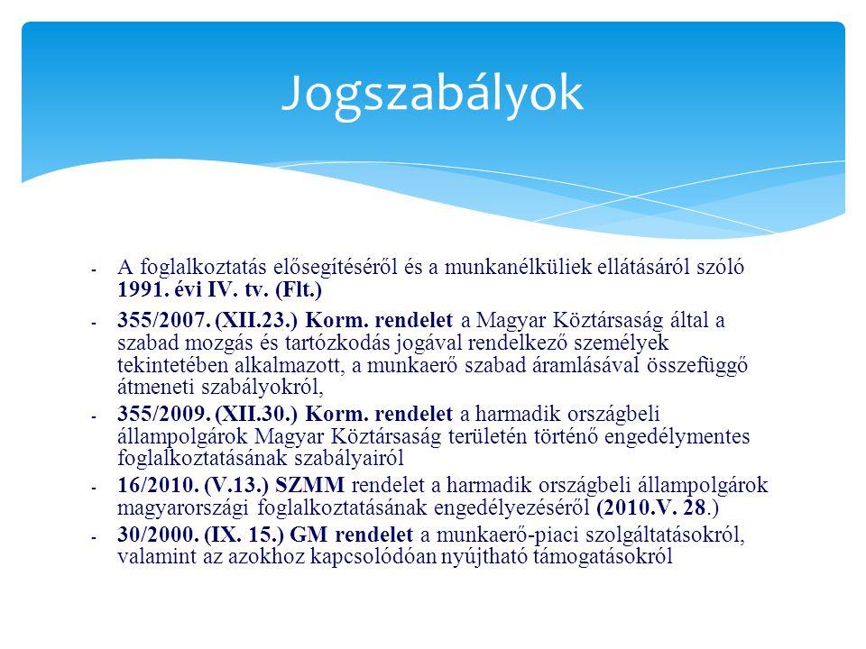 Jogszabályok A foglalkoztatás elősegítéséről és a munkanélküliek ellátásáról szóló 1991. évi IV. tv. (Flt.)
