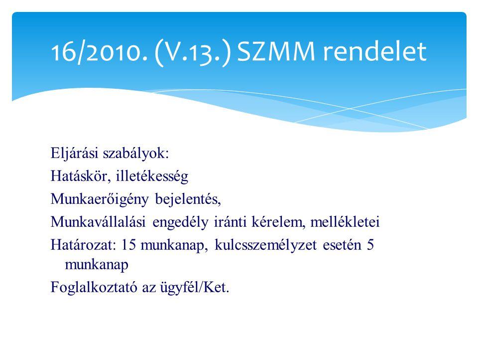 16/2010. (V.13.) SZMM rendelet Eljárási szabályok: