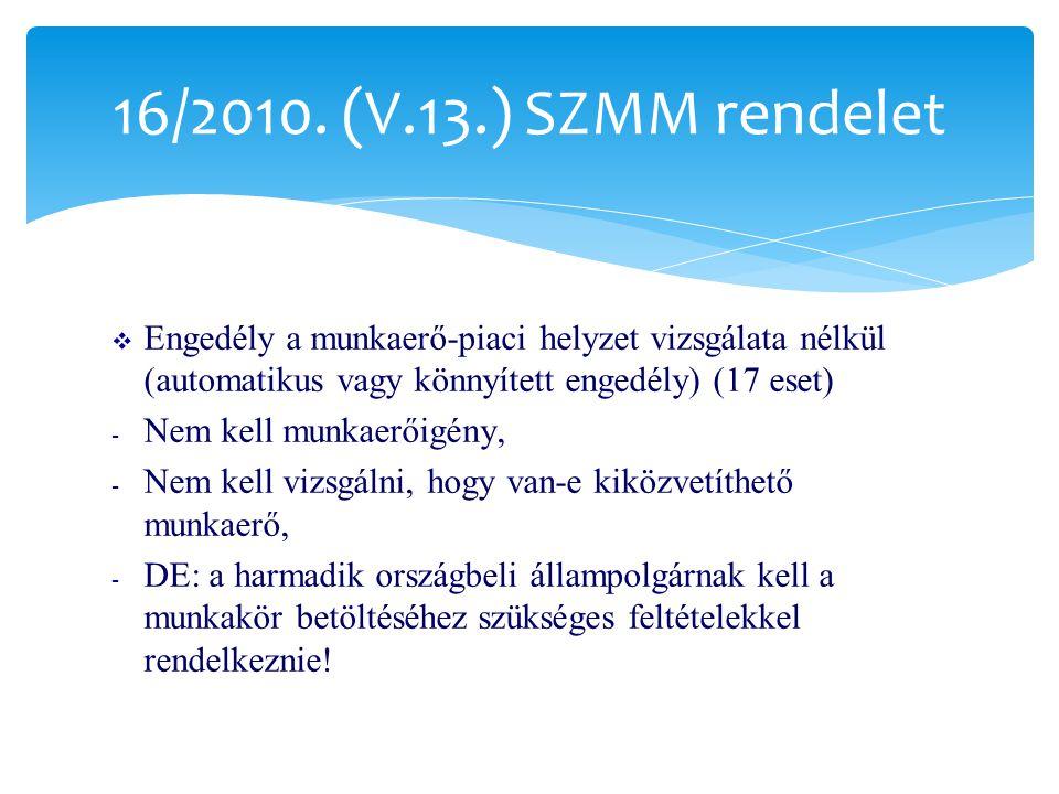 16/2010. (V.13.) SZMM rendelet Engedély a munkaerő-piaci helyzet vizsgálata nélkül (automatikus vagy könnyített engedély) (17 eset)