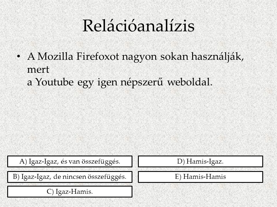 Relációanalízis A Mozilla Firefoxot nagyon sokan használják, mert a Youtube egy igen népszerű weboldal.