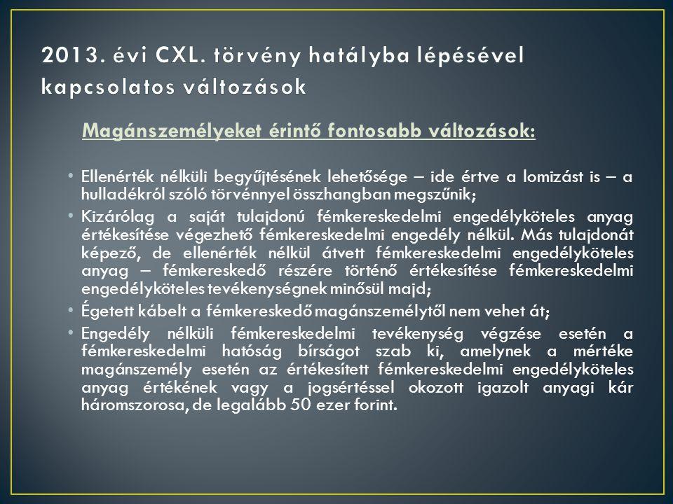 2013. évi CXL. törvény hatályba lépésével kapcsolatos változások