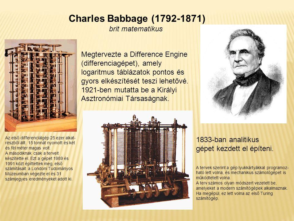 Charles Babbage (1792-1871) brit matematikus
