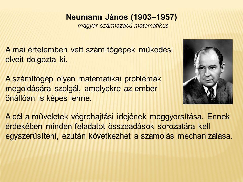 Neumann János (1903–1957) magyar származású matematikus