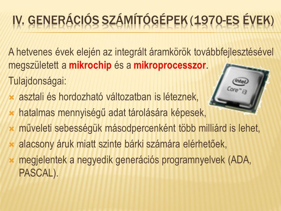 IV. Generációs számítógépek (1970-es évek)