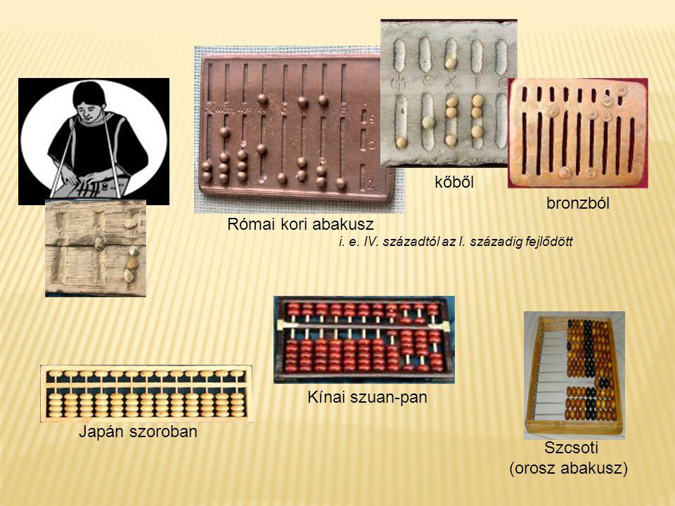 kőből bronzból Római kori abakusz Kínai szuan-pan Japán szoroban