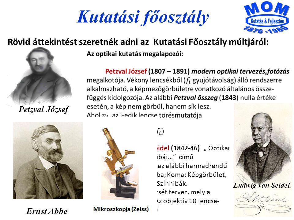 Kutatási főosztály Rövid áttekintést szeretnék adni az Kutatási Főosztály múltjáról: Petzval József.