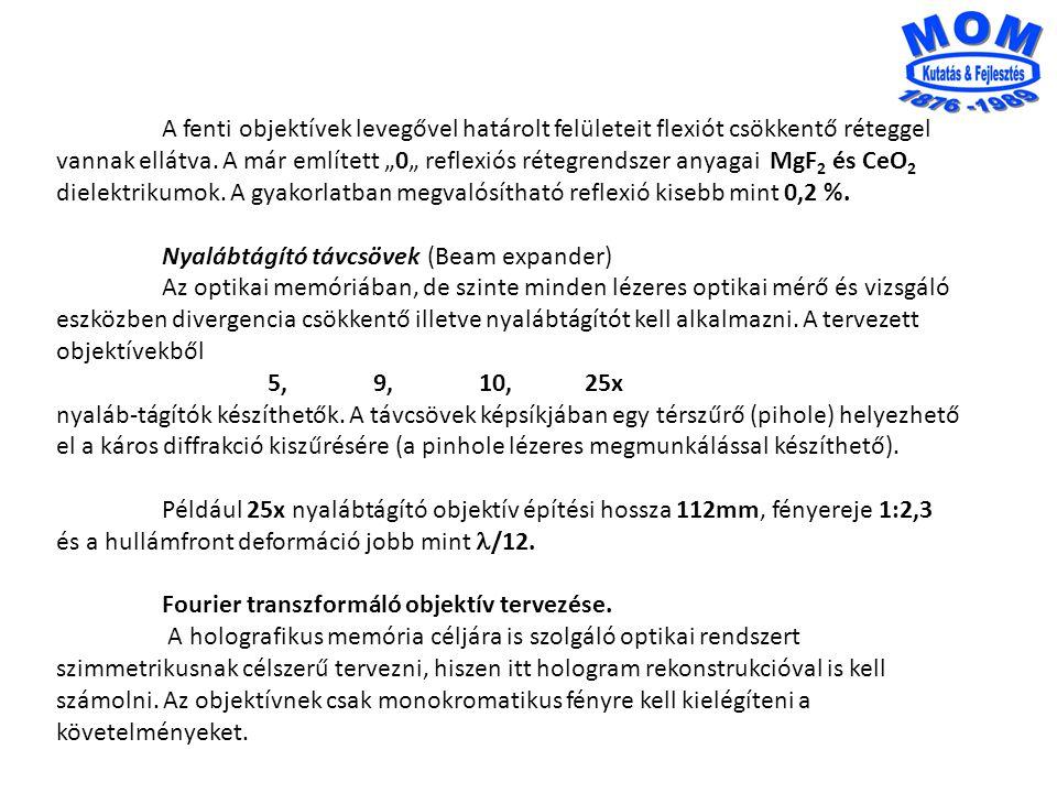 """A fenti objektívek levegővel határolt felületeit flexiót csökkentő réteggel vannak ellátva. A már említett """"0"""" reflexiós rétegrendszer anyagai MgF2 és CeO2"""