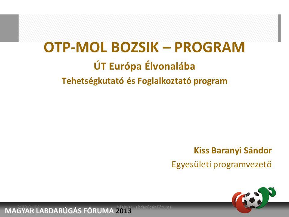 OTP-MOL BOZSIK – PROGRAM Tehetségkutató és Foglalkoztató program