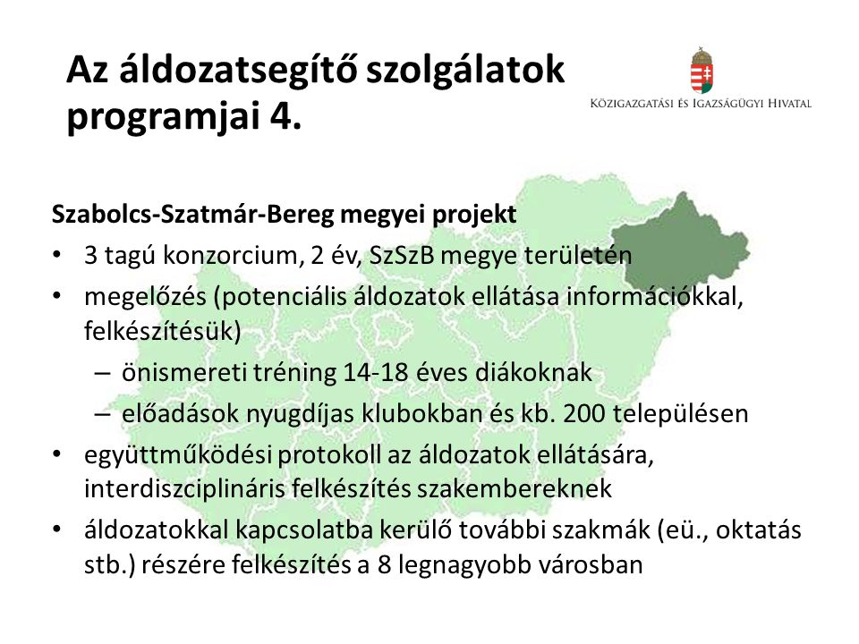 Az áldozatsegítő szolgálatok programjai 4.