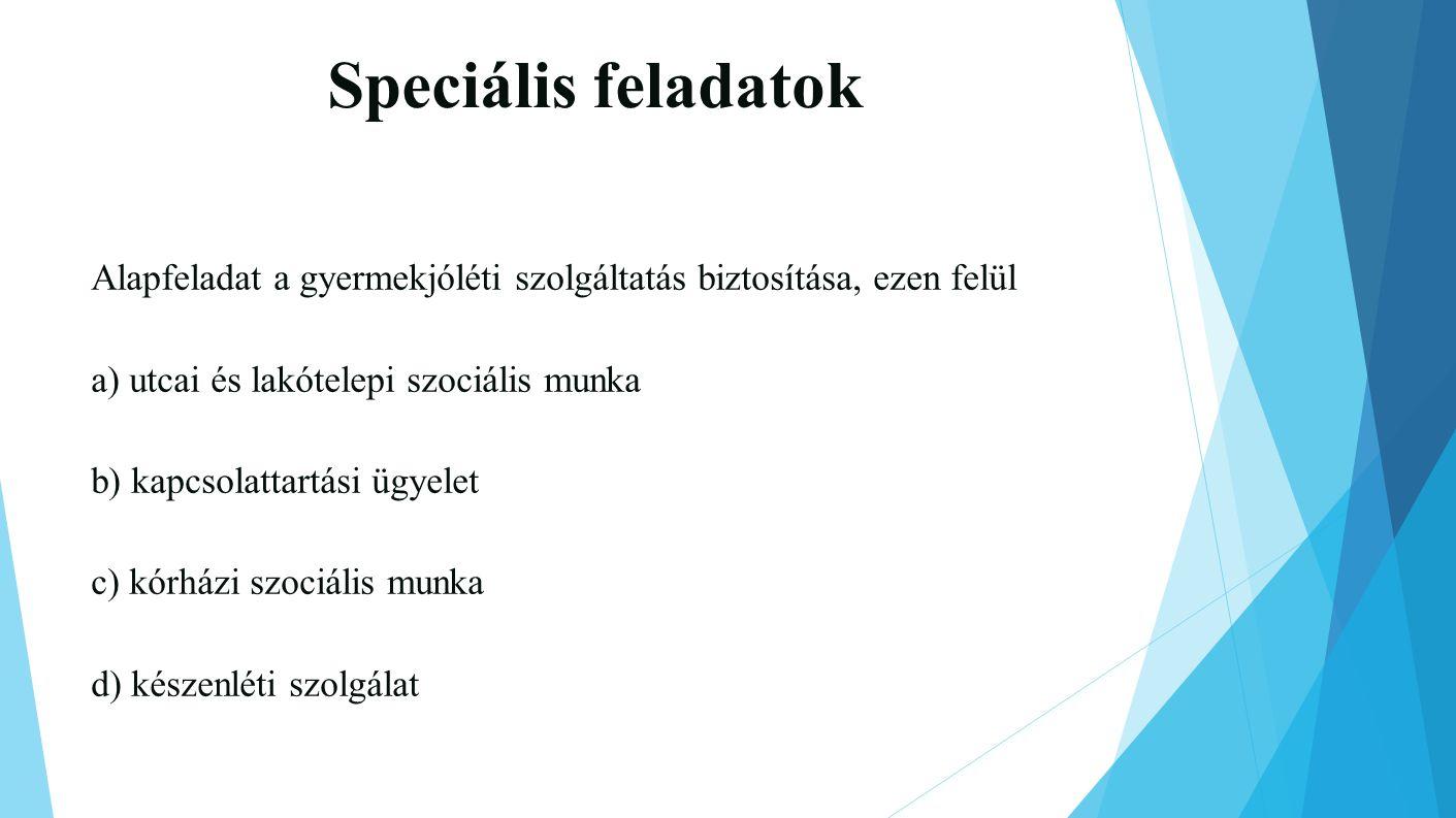 Speciális feladatok Alapfeladat a gyermekjóléti szolgáltatás biztosítása, ezen felül. a) utcai és lakótelepi szociális munka.