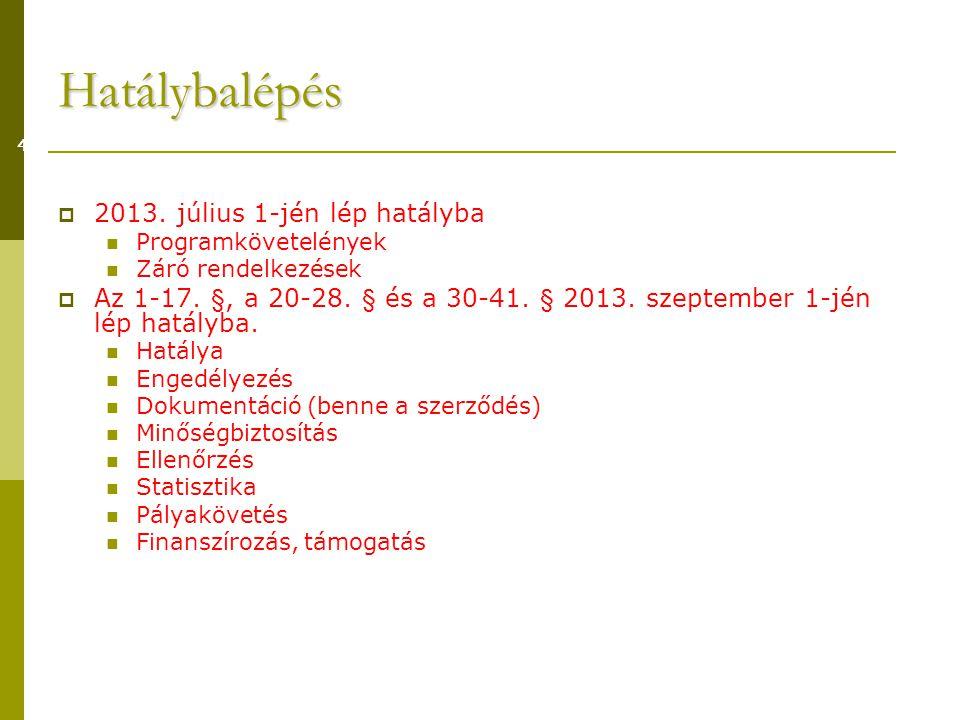 Hatálybalépés 2013. július 1-jén lép hatályba