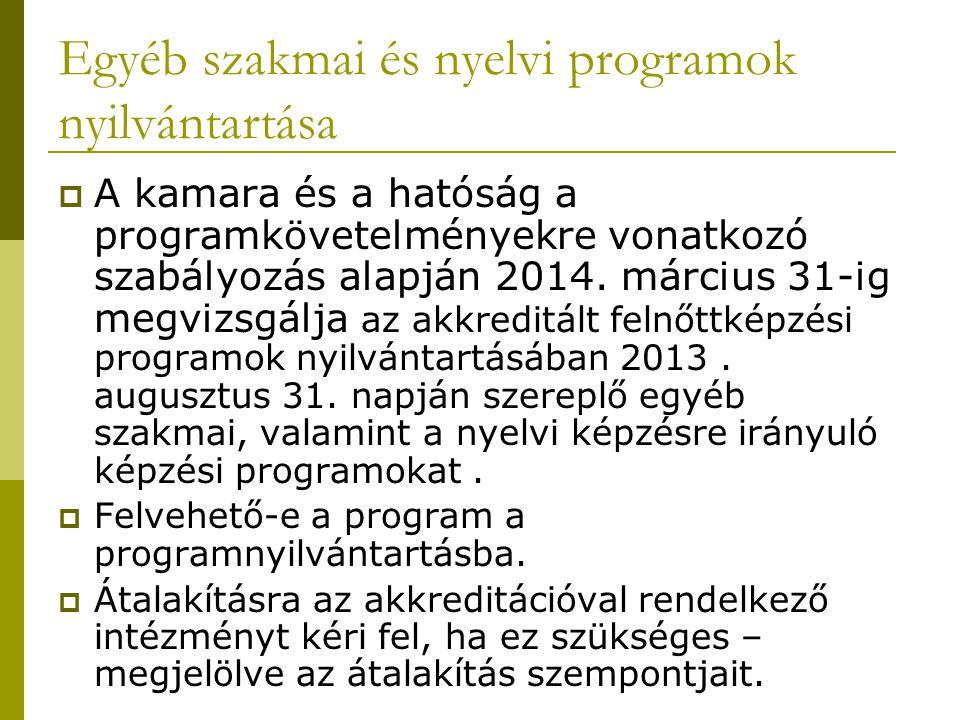 Egyéb szakmai és nyelvi programok nyilvántartása