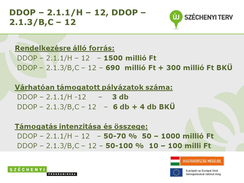 DDOP – 2.1.1/H – 12, DDOP – 2.1.3/B,C – 12