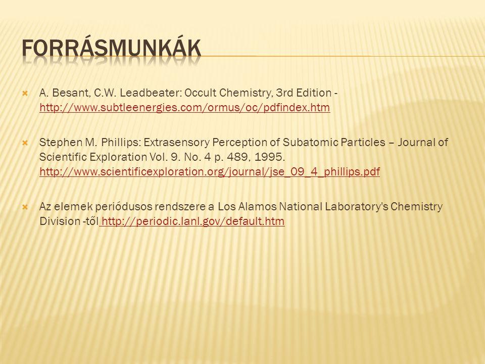 Forrásmunkák A. Besant, C.W. Leadbeater: Occult Chemistry, 3rd Edition - http://www.subtleenergies.com/ormus/oc/pdfindex.htm.