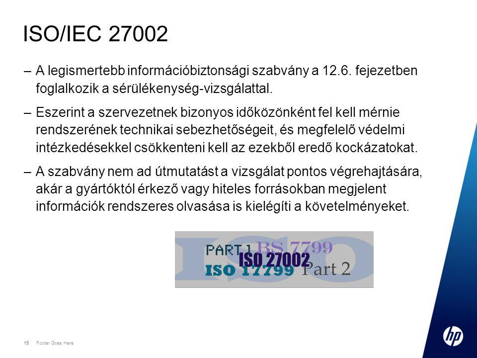 ISO/IEC 27002 A legismertebb információbiztonsági szabvány a 12.6. fejezetben foglalkozik a sérülékenység-vizsgálattal.