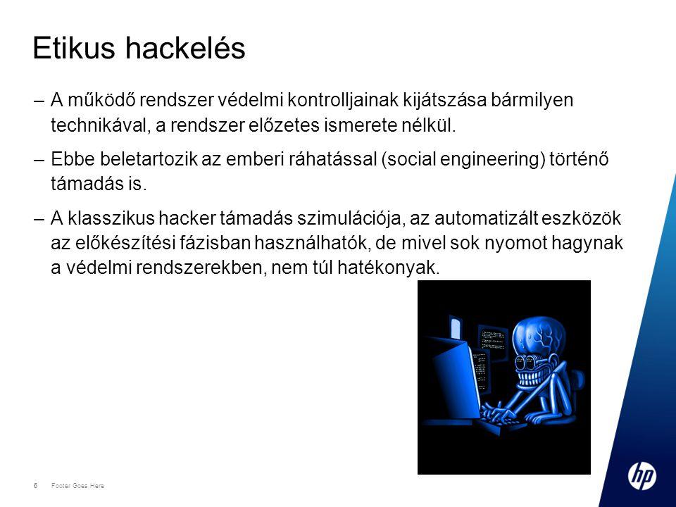 Etikus hackelés A működő rendszer védelmi kontrolljainak kijátszása bármilyen technikával, a rendszer előzetes ismerete nélkül.
