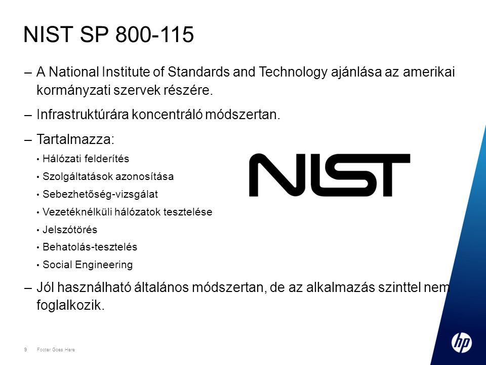NIST SP 800-115 A National Institute of Standards and Technology ajánlása az amerikai kormányzati szervek részére.