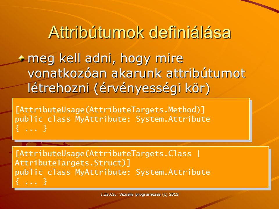 Attribútumok definiálása