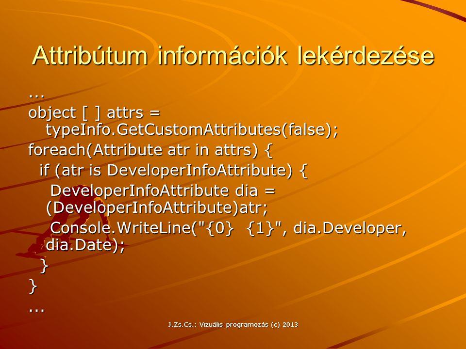 Attribútum információk lekérdezése
