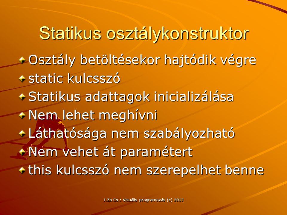 Statikus osztálykonstruktor