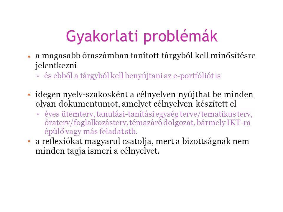 Gyakorlati problémák a magasabb óraszámban tanított tárgyból kell minősítésre. jelentkezni. • ▫