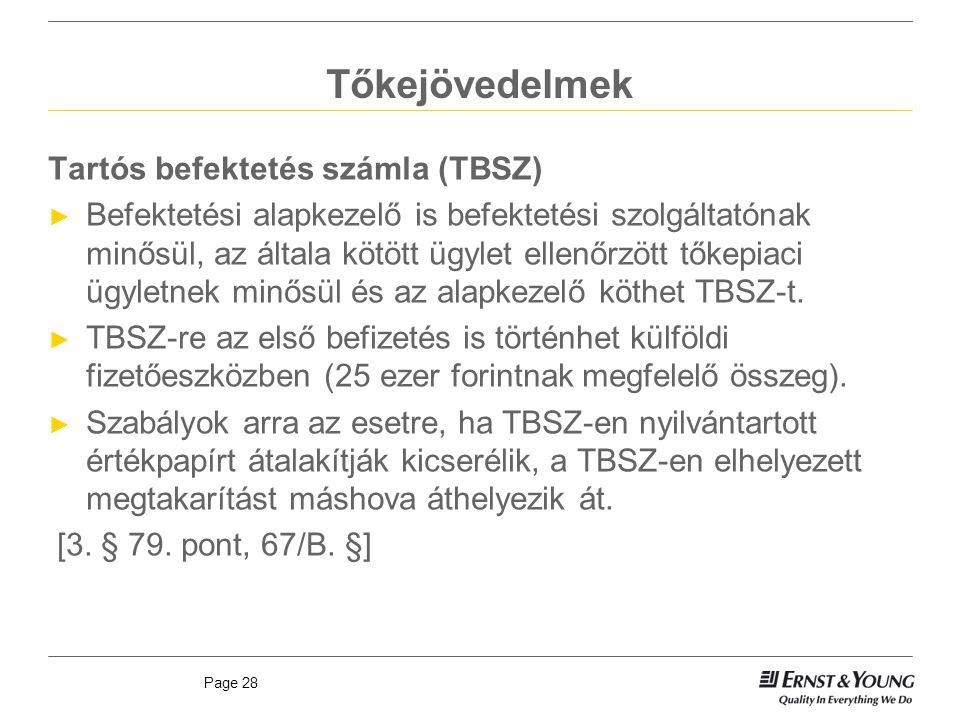 Tőkejövedelmek Tartós befektetés számla (TBSZ)