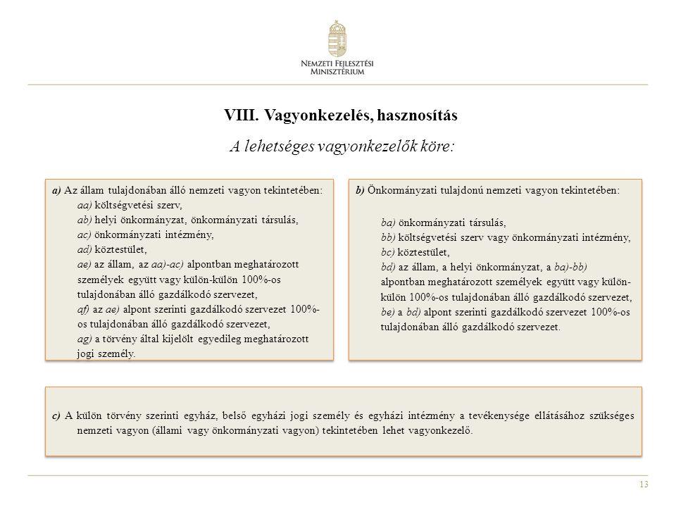 VIII. Vagyonkezelés, hasznosítás A lehetséges vagyonkezelők köre: