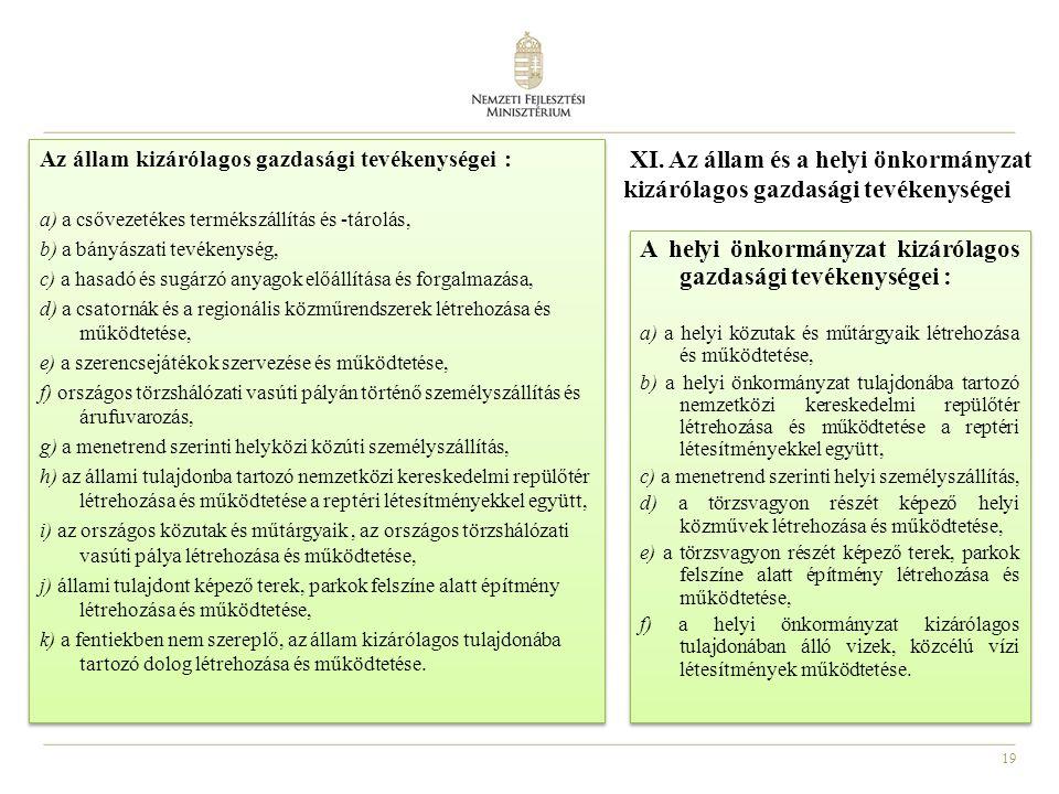 A helyi önkormányzat kizárólagos gazdasági tevékenységei :